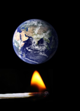 earth heated by match