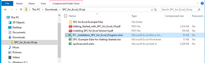 select installation file