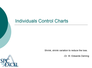 individuals control chart complete teaching guide